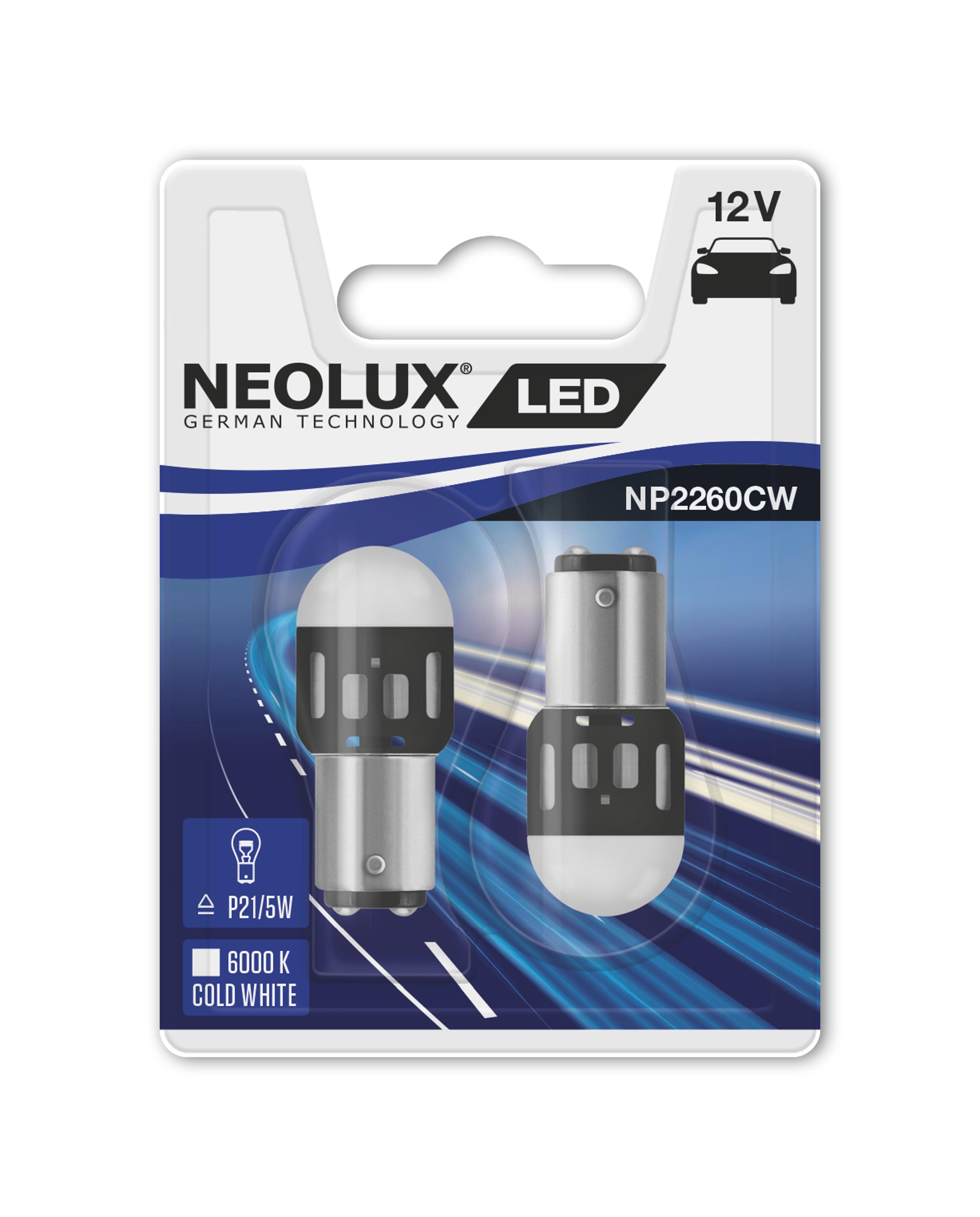 """NEOLUX autožárovka """"P21/5W"""" RETROFIT 12V 1,2W BAY15d 6000K studená bílá (Blistr 2ks)"""