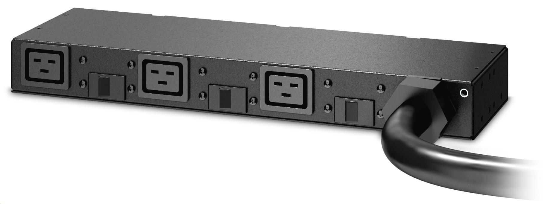 APC Rack PDU, Basic, 0U/1U, 220-240V, 63A, (3) C19, IEC 309 3.66m