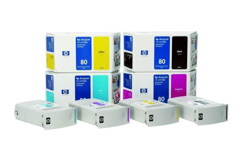 HP 80 Magenta DJ Ink Cart, 350 ml, C4847A