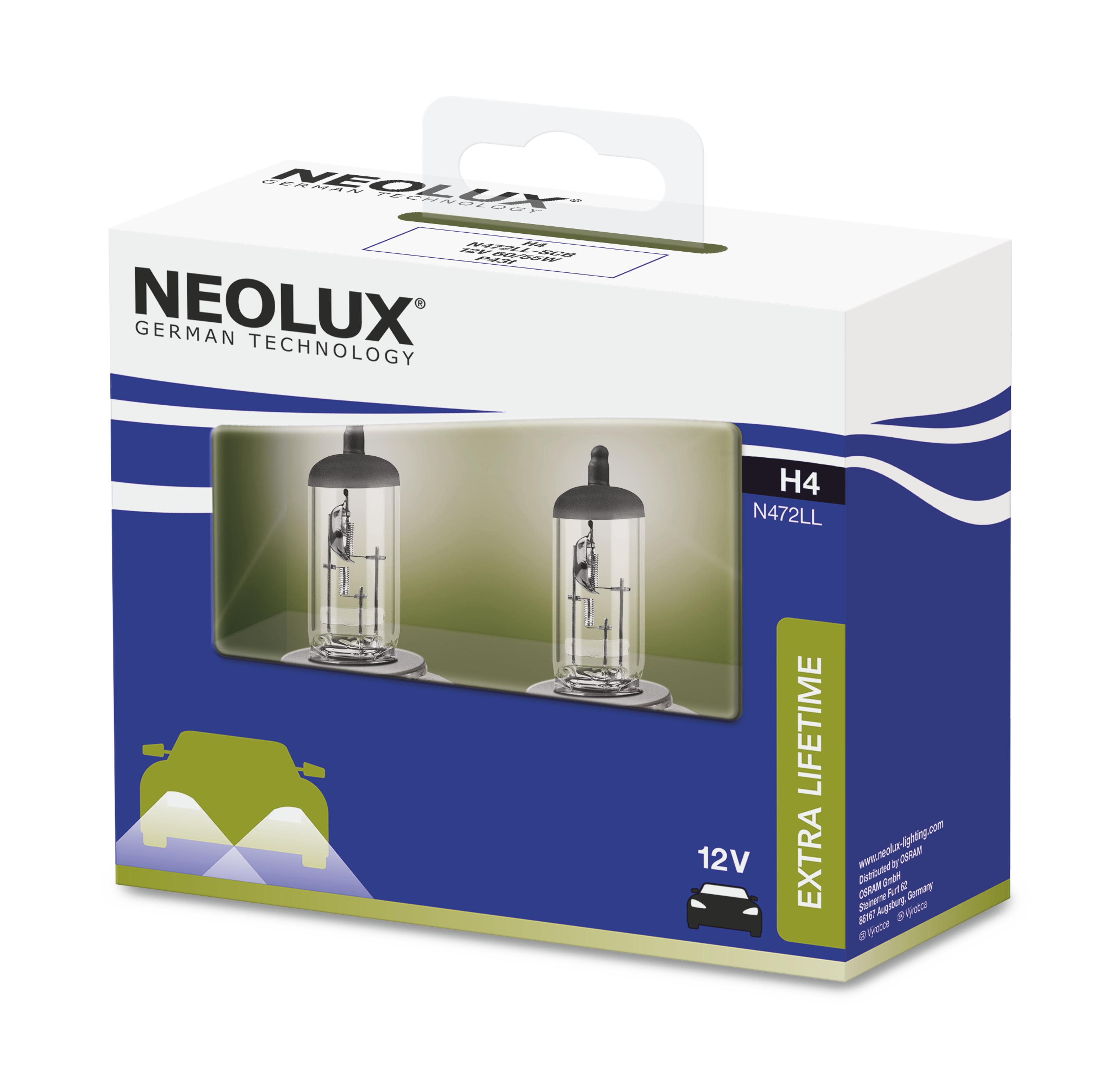 NEOLUX autožárovka H4 EXTRA LIFTIME 12V 60/55W P43t (Duo-Box)