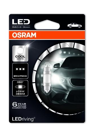 "OSRAM autožárovka ""C5W"" LEDriving® Premium 12V 1W SV8.5-8 36mm 6000K studená bílá (Blistr 1ks)"