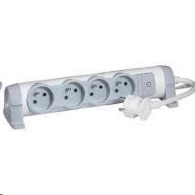Legrand - predlžovačka s vypínačom a indikáciou zap./vyp., 4 zásuvky, dĺžka káblu 3m, možnosť meniť orientáciu zásuviek
