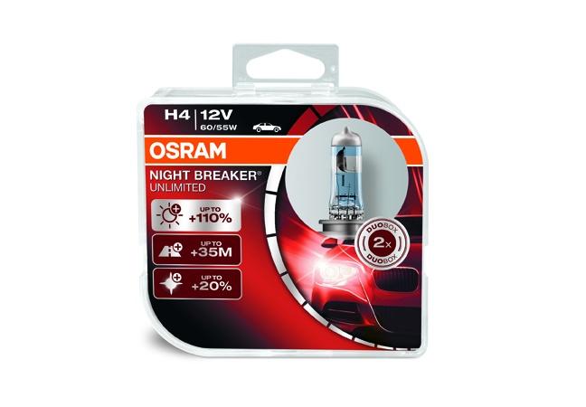 OSRAM autožárovka H4 NIGHT BREAKER® UNLIMITED 12V 60/55W P43T (Duo-Box)