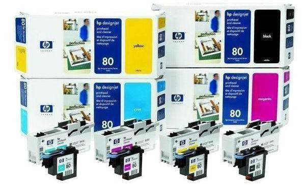 HP 80 Yellow Printhead + Printhead Cleaner, C4823A
