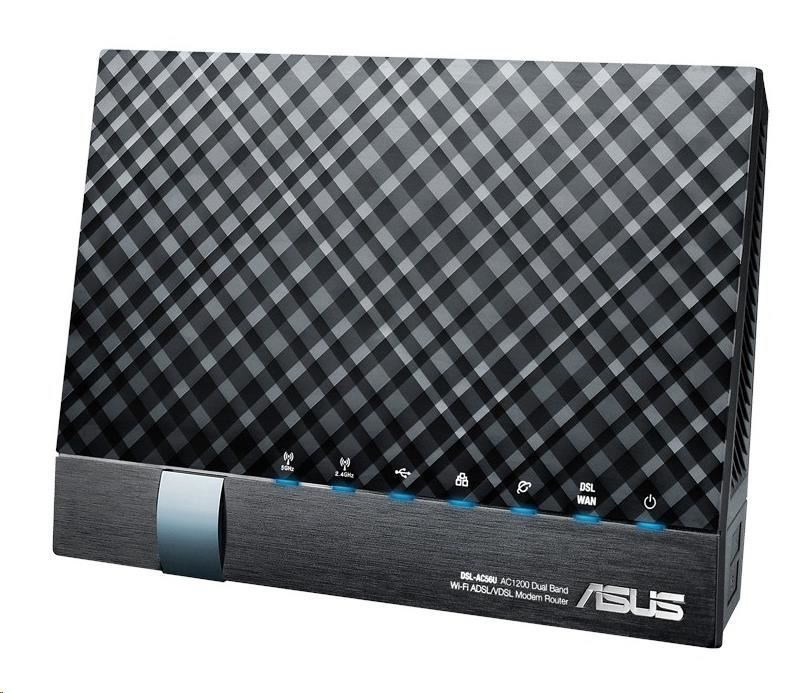 ASUS DSL-AC56U Dual-band Wireless AC1200 VDSL/ADSL Modem Router, 4x gigabit RJ45, 2x USB2.0