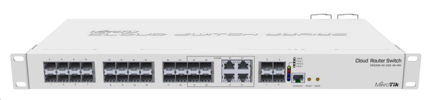 MikroTik Cloud Router Switch CRS328-4C-20S-4S+RM, 800MHz CPU,512MB RAM, 20x SFP, 4x SFP+, 4x LAN combo, vč. L5